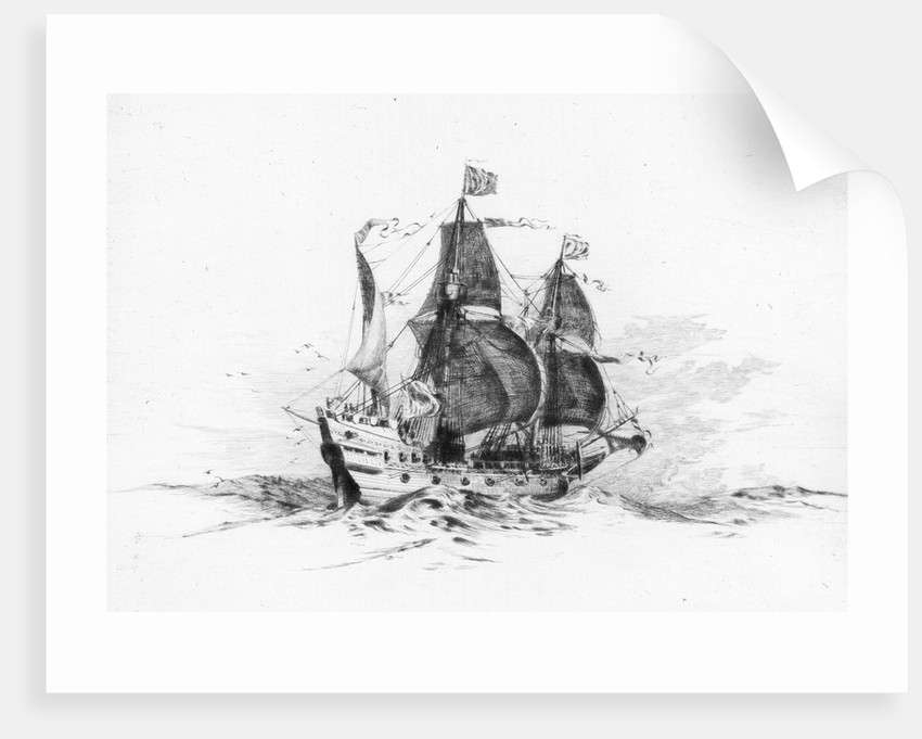 'Golden Hind' at sea, starboard side. Drake's ship by Harold Wyllie