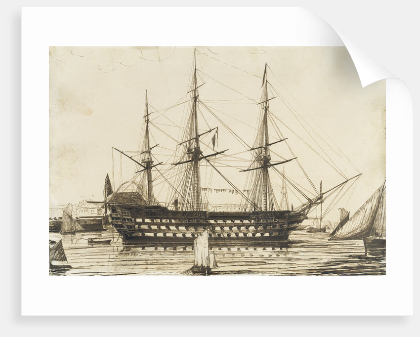 HMS 'Howe' off Sheerness Dockyard, 1836 by Francis Byron