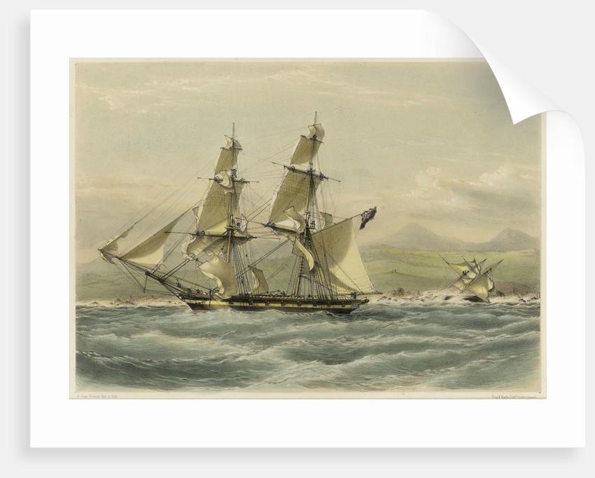 HM brig 'Frolic', 16 guns, slaver driven on shore, coast of Brazil by John Vernon