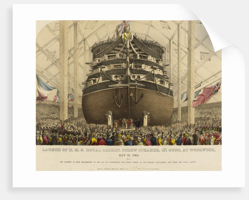 Launch of HMS 'Royal Albert' screw steamer, 131 guns, at Woolwich, 13 May 1854 by Read & Co