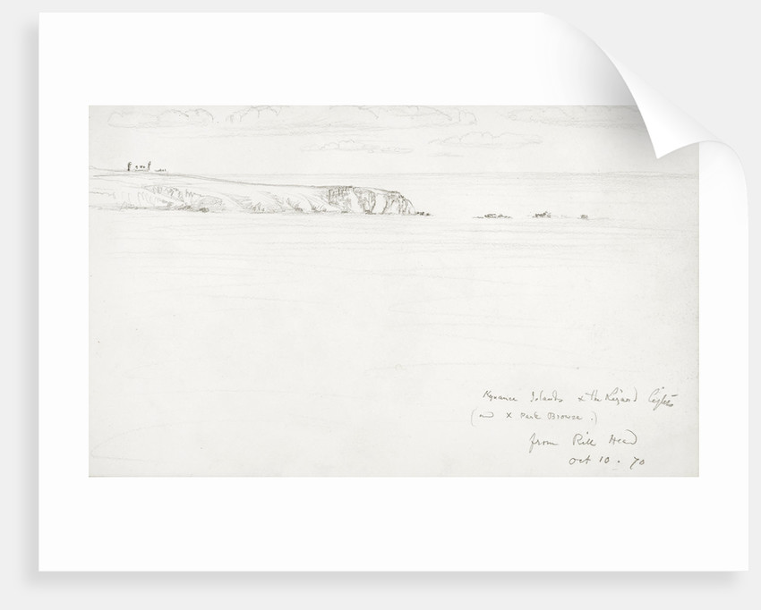 Sketch of a flat coastal view in Cornwall by John Brett
