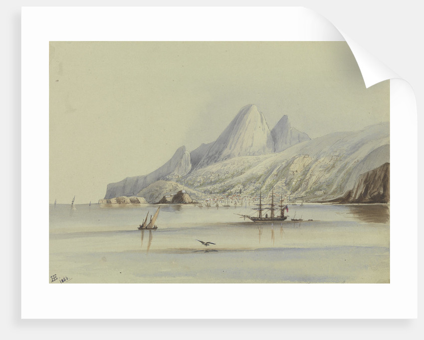 View of Madeira showing HMS 'Tribune' 1856 by Harry Edmund Edgell