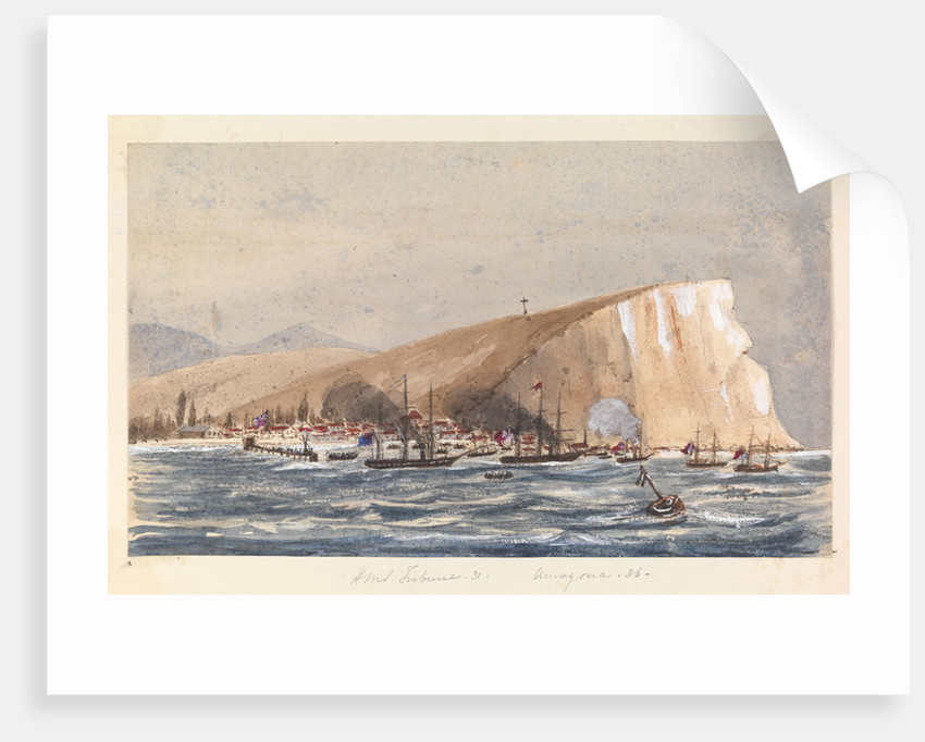 Sea attack on a coastal town by Harry Edmund Edgell