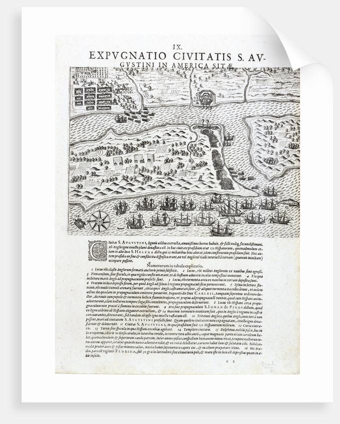 Drake's capture of St Augustine, Florida, May 1586 by Johannus Theodorus de Bry