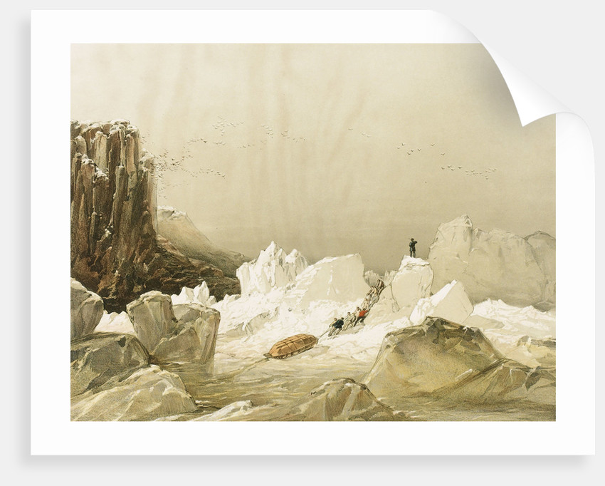 Sledging over Hummocky Ice, April 1853 by S. Gurney