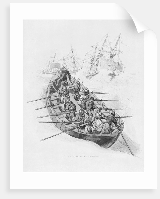 Eleven figures in a lifeboat going out to vessels in a rough sea by William Miller