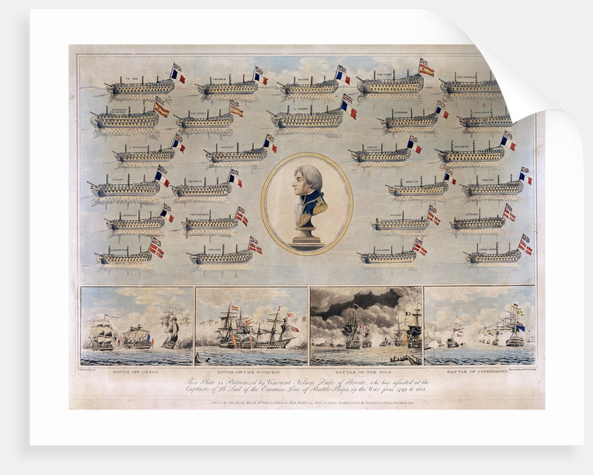 Ships captured by Nelson 1793-1801 and Battle of Genoa, Battle off Cape St Vincent, Battle of the Nile and Battle of Copenhagen by Thomas Buttersworth