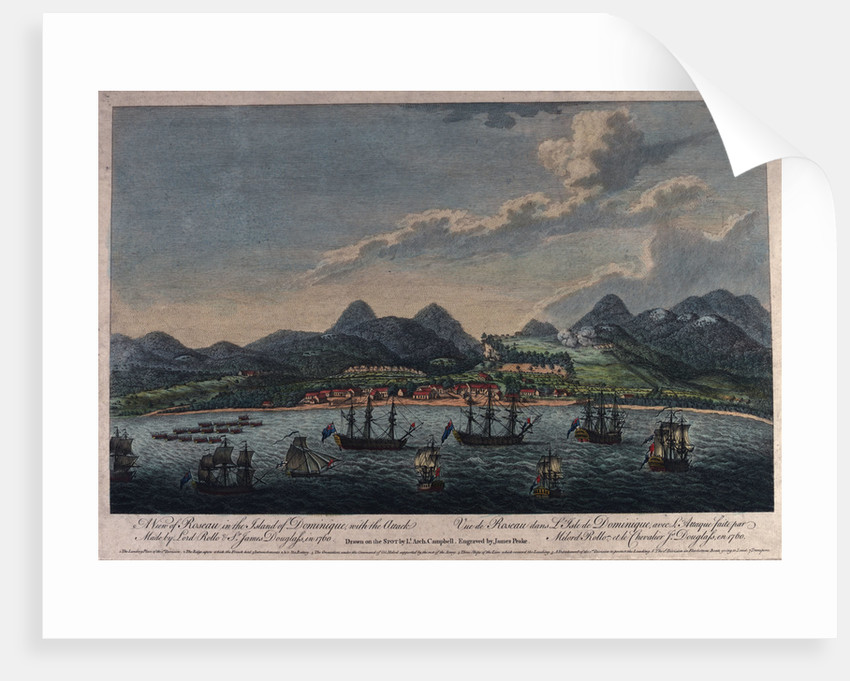 A view of Roseau in the island of Dominique, with the Attack Made by Lord Rollo & Sr James Douglass in 1760 by Archibald Campbell