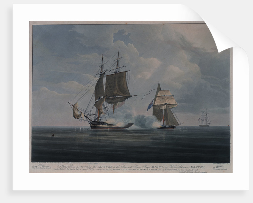 The capture of the Spanish slave brig 'Midas' by HM Schooner 'Monkey' on the Great Bahama Bank, 27 June 1829 by William John Huggins