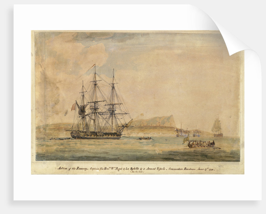 Action of the Romney... & La Sybille & 3 armed vessels... June 17th 1794 (off Miconi, Grecian Archipelago) by J. Livesay
