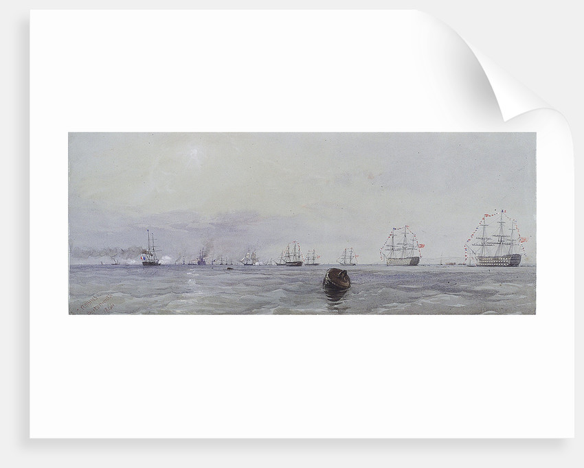 Louis Philippe's visit to Queen Victoria, October 1844. Passing the flag in Portsmouth Harbour by Thomas Sewell Robins