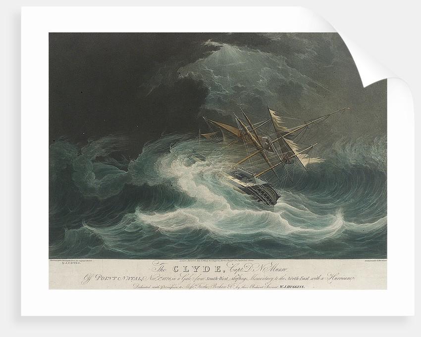 The Clyde, Capt D.N. Munro off Point Natal, Nov 1st 1826 in a gale.... Messrs Fairlie, Bonham & Co.... by J.F. Owen