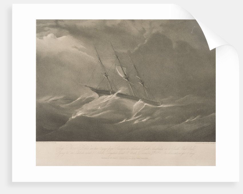 The 'Three Bells' on her voyage from Glasgow to Adelaide, South Australia, in a south west gale by James Cumming
