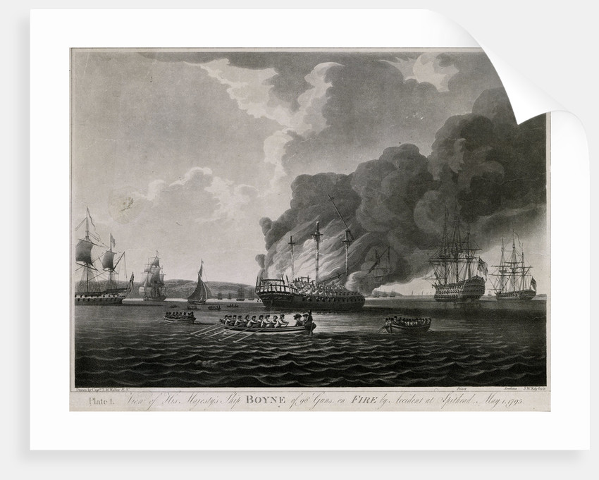View of HMS 'Boyne' 98 guns, on fire by accident at Spithead, May 1795 by T.M. Waller