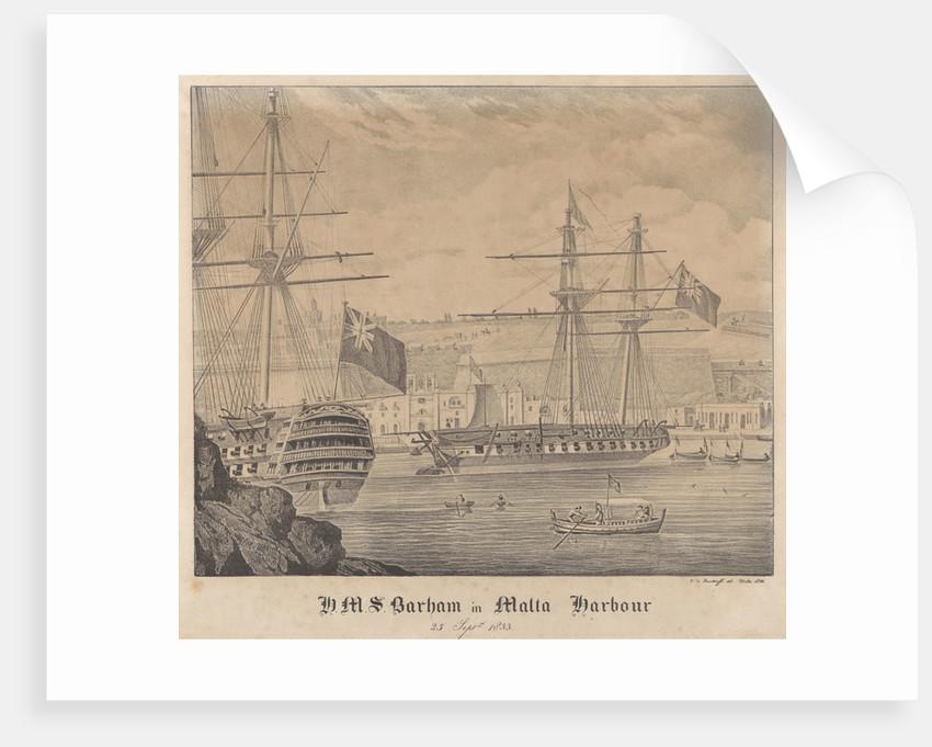 HMS 'Barham' in Malta Harbour 25 September 1833 by James Kennett Willson
