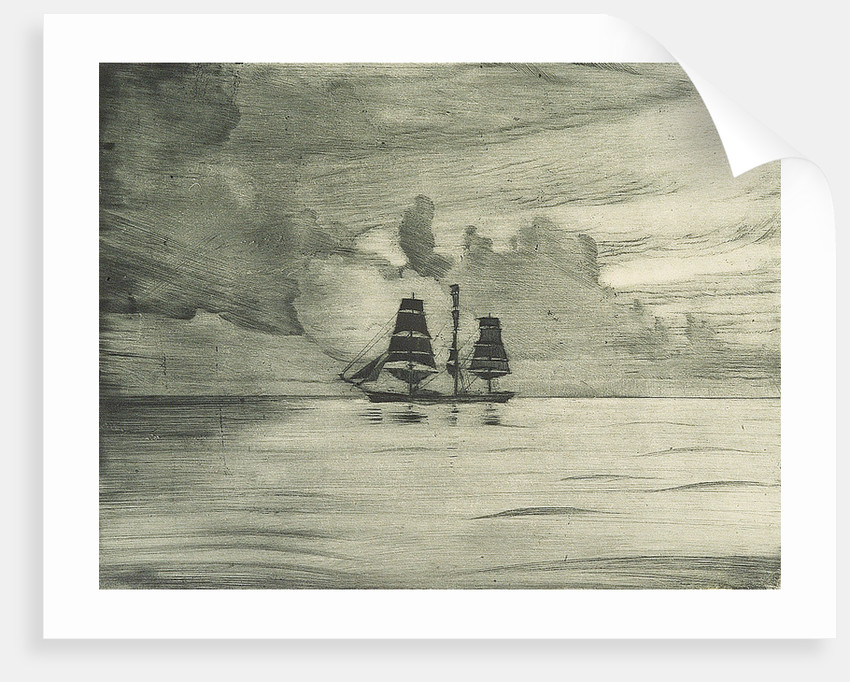 Port side of a sailing vessel in a calm sea by Herbert Barnard John Everett