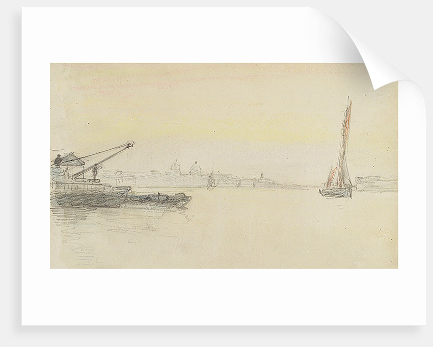 Sketch of various sailing vessels on the Thames at Greenwich by Herbert Barnard John Everett