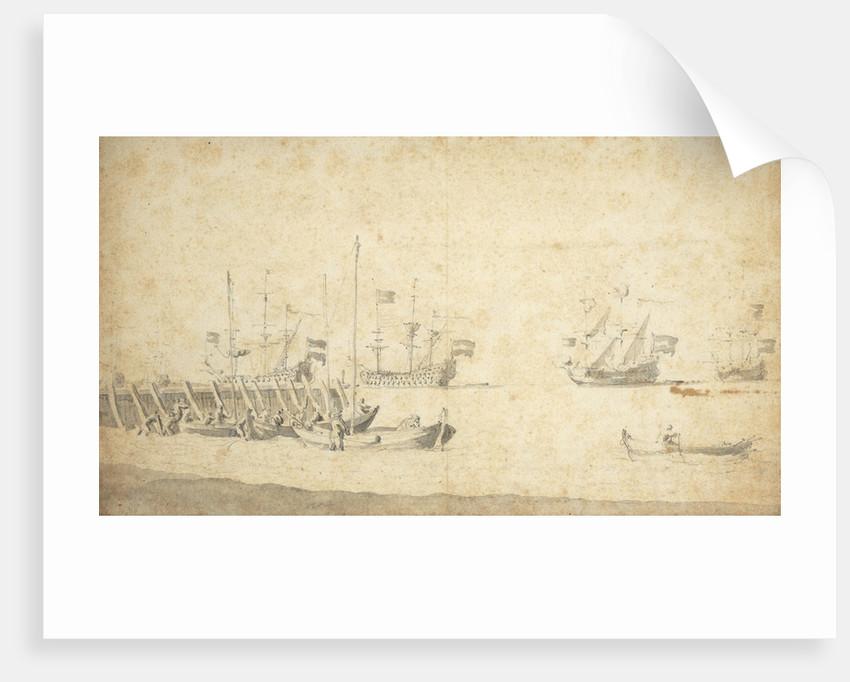 Weyschuits near a pier: Dutch ships lying off by Willem van de Velde the Elder