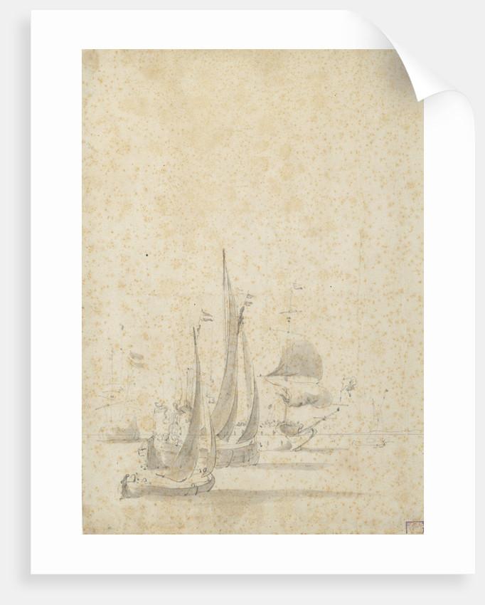 A wijdschip, boeier yacht and Dutch ships in a light breeze by Willem van de Velde the Elder
