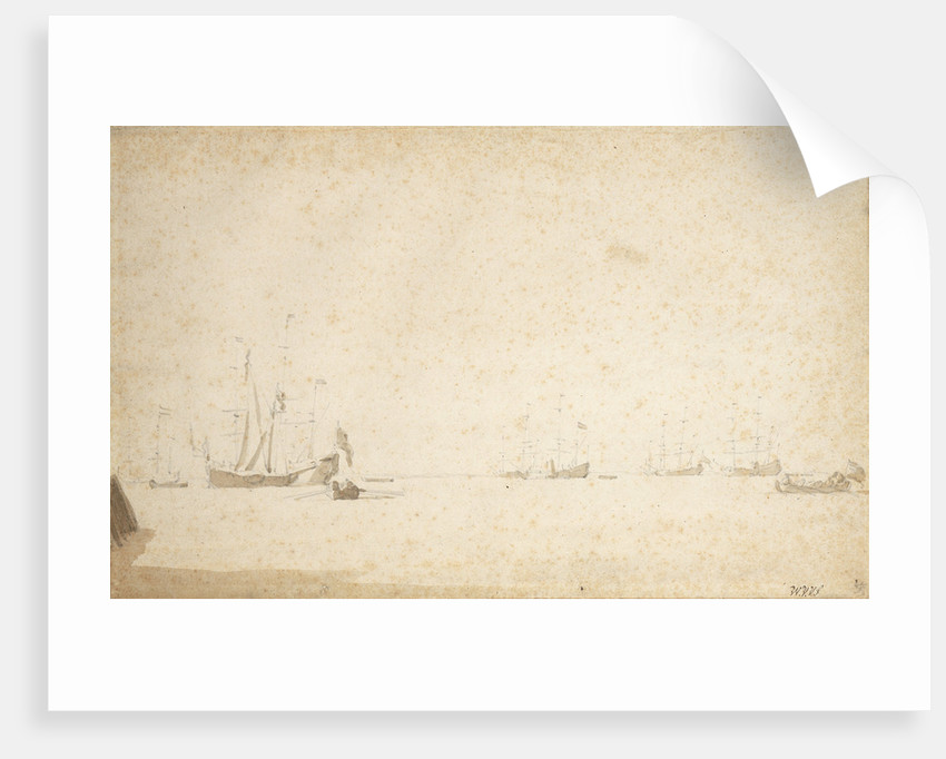 Dutch ships at anchor in an estuary by Willem Van de Velde the Younger