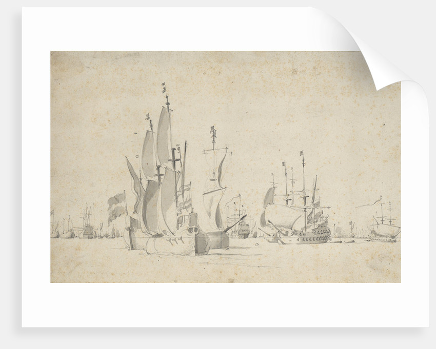 A flute running free with two others in stays by Willem Van de Velde the Younger