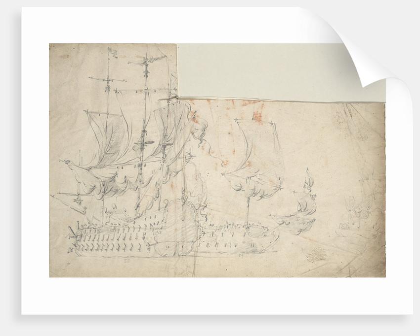 Two large Dutch ships drying sails by Willem van de Velde the Elder