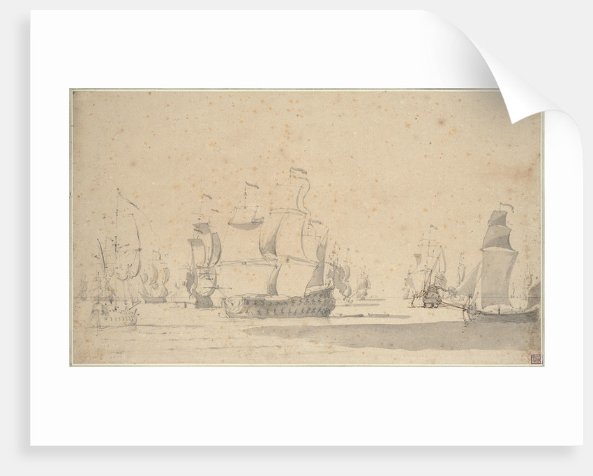 English ships, a ketch and a galliot in a light breeze, June 1673? by Willem van de Velde the Elder