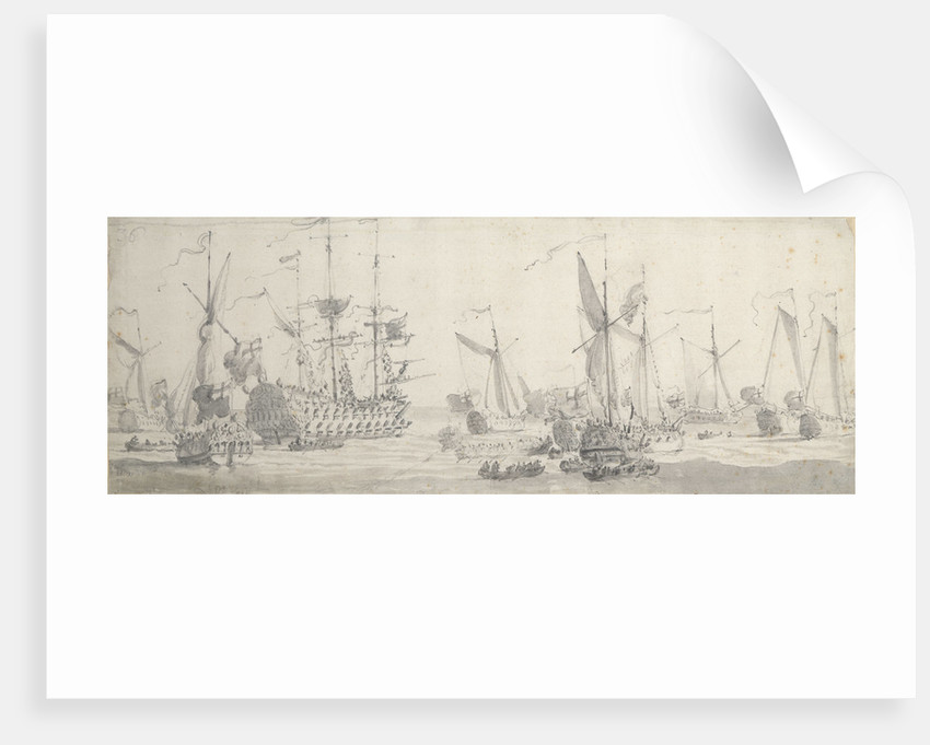 Visit of Charles II to the 'Tiger' at Woolwich: The King leaving one of the yachts by Willem van de Velde the Elder