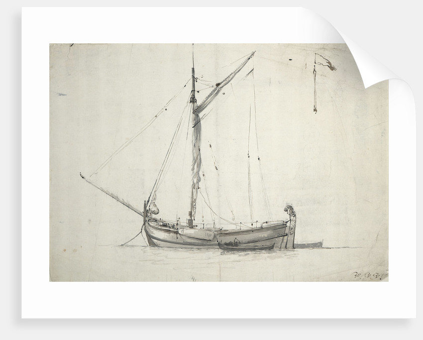 Study of a galjoot at anchor by Willem Van de Velde the Younger