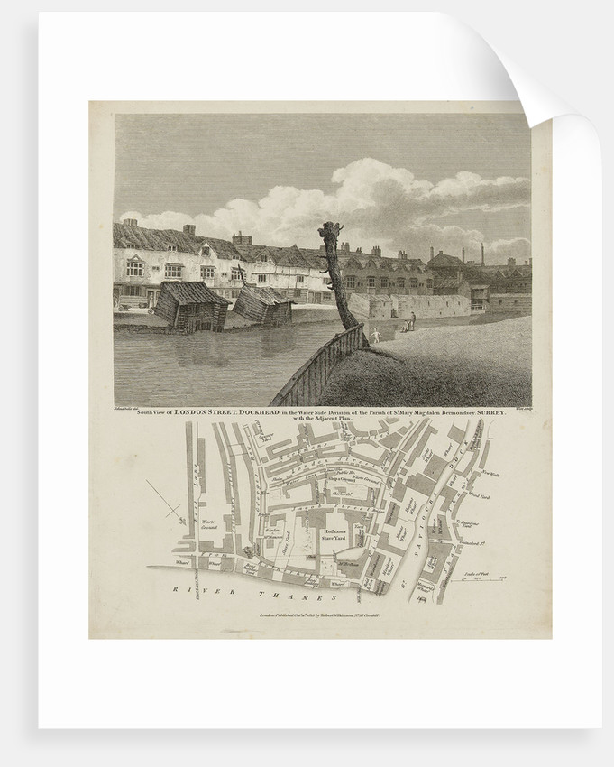 South view of London Street, Dockhead in the Water Side division of the Parish of St Mary Magdalen Bermondsey, Surrey by Robert Bremmel Schnebbelie