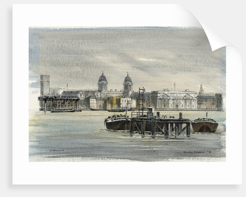 Greenwich. View across the river from the north showing the Royal Naval College and other buildings, with barges in the foreground by Charles E. Madden