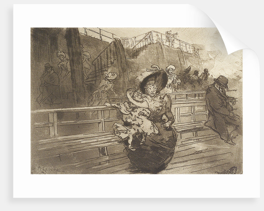 Departure from Greenwich. Scene on deck of Thames passenger vessel by Auguste Lepere