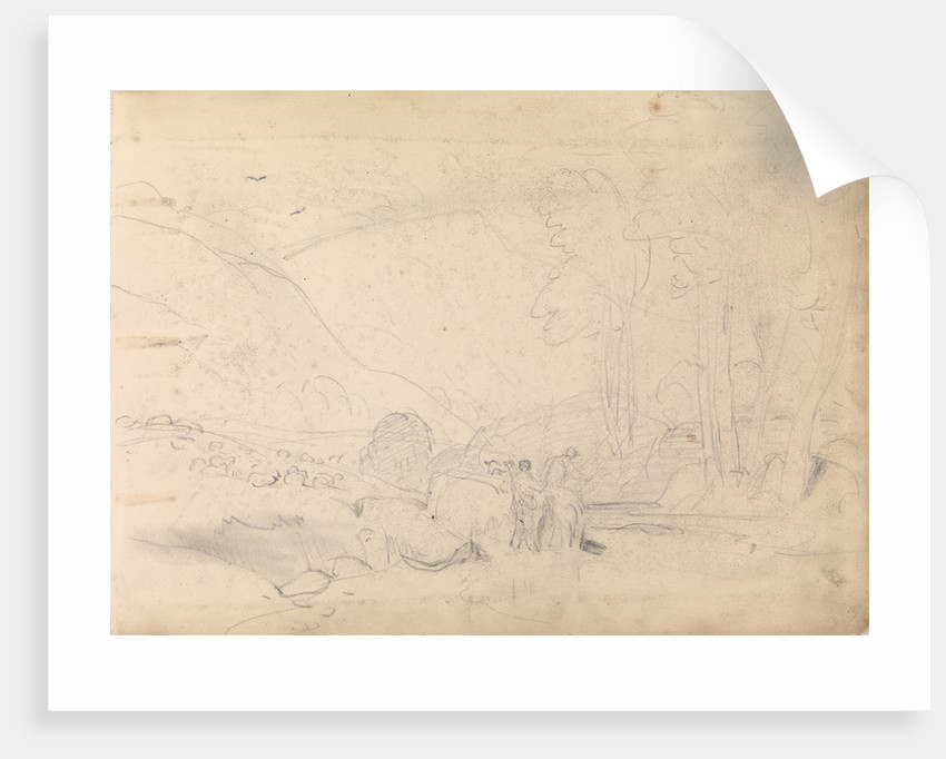 Sketch of mountainous landscape with trees and figures in foreground by John Christian Schetky