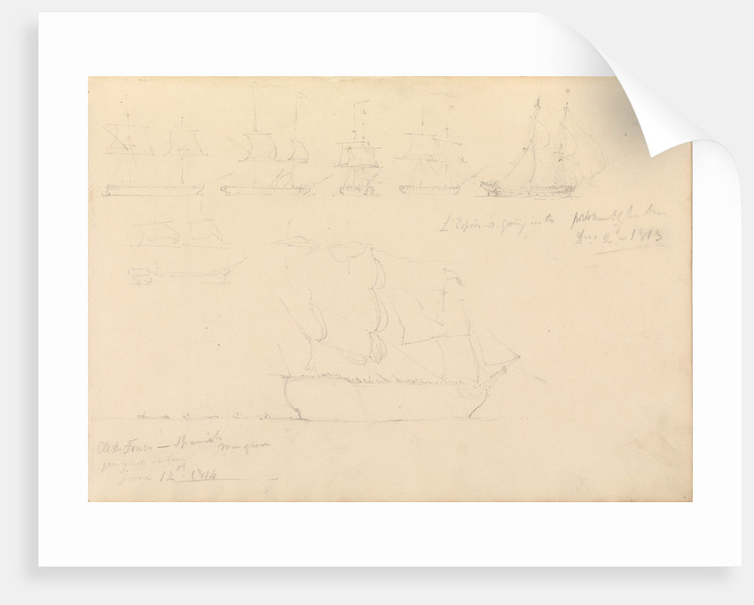 Page of slight sketches of fighting vessels, including 'L'Espoir' and 'Al-de-Fonso', 1813 and 1814 by John Christian Schetky