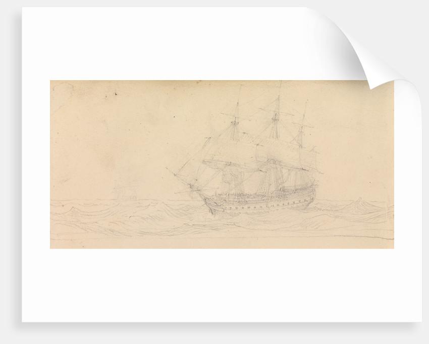 A naval frigate at sea by John Christian Schetky