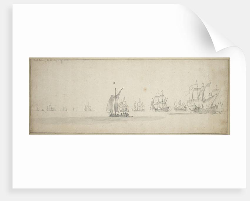 The Dutch fleet on its way to the Scottish coast, 10-20 August 1665 by Willem van de Velde the Elder
