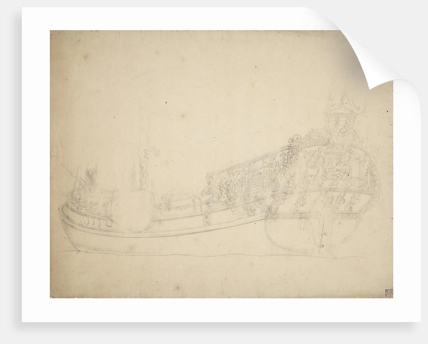Portrait of a Dutch prince's yacht by Willem van de Velde the Elder