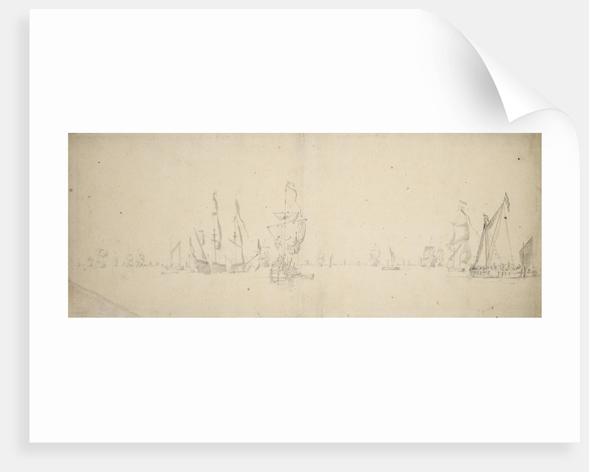 A smalschip and a despatch vessel with the Dutch fleet in light airs by Willem Van de Velde the Younger