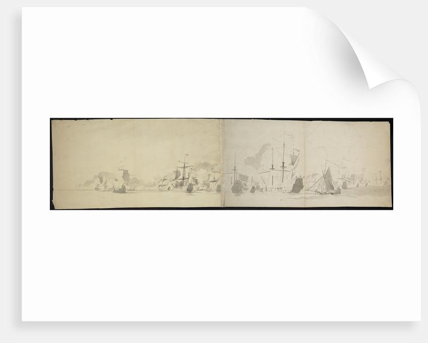 Dutch fleet at sea panorama (unfinished) by Willem van de Velde the Elder
