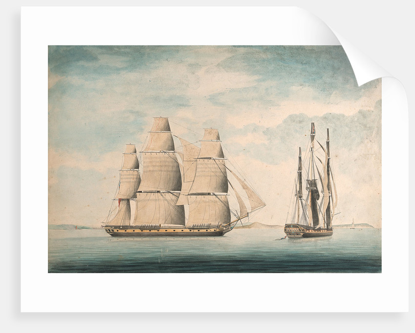 Commencement of the action between the 'Crescent' and 'La Reunion' off Cape Barfleur 20 October 1793 by William Nepecker Juste