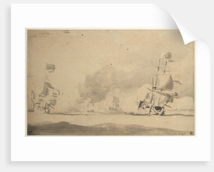 A Dutch ship in chase of an English ship, 1673 by Willem Van de Velde the Younger