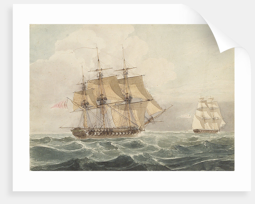 American brig chased by British frigate by William John Huggins