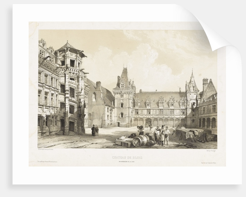 View of the central court of the Chateau de Blois by Bachelier