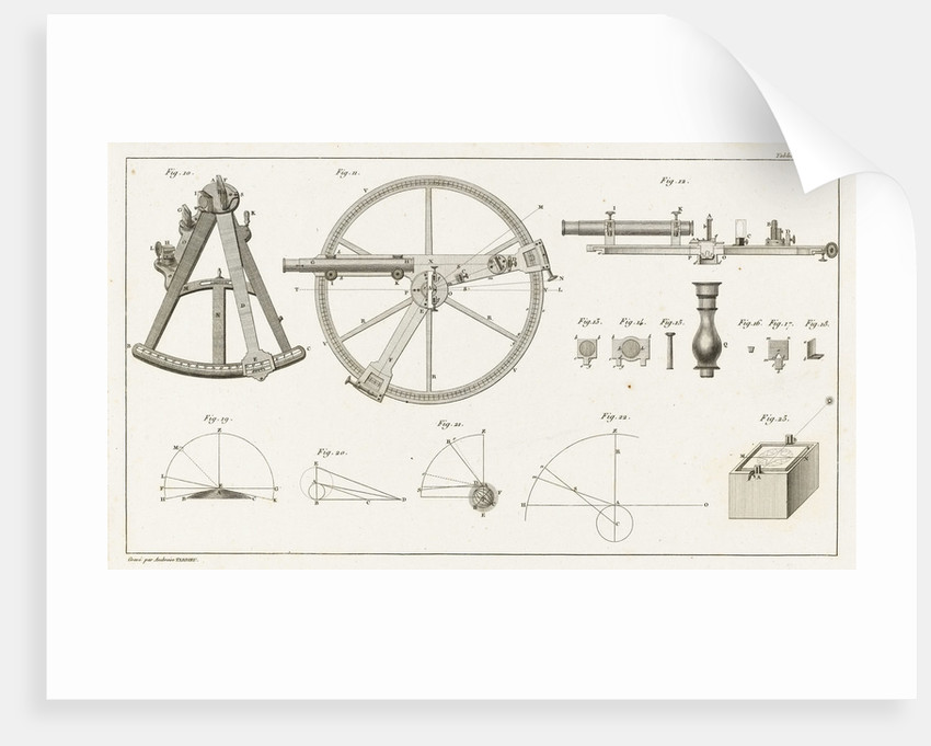 Illustrations of sextant and other navigational equipment by Ambroise Tardieu