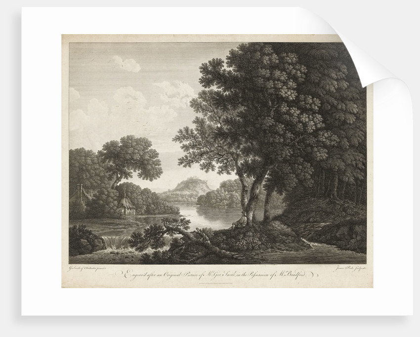 Country scene with river trees and small buildings by G. Smith