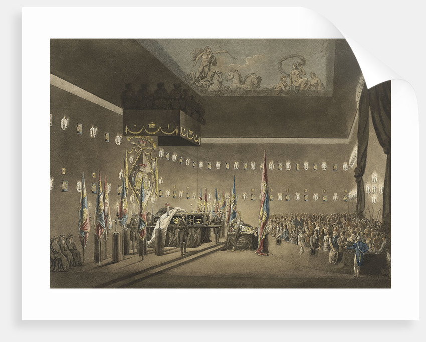 Remains of Lord Viscount Nelson laying in state in the Painted Chamber at Greenwich Hospital by Augustus Charles Pugin