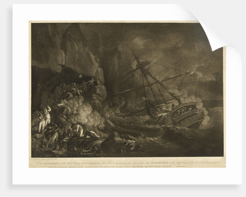 The loss of the East India Company's ship 'Halsewell' on the night of the 5-6 January 1786 by Robert Dodd