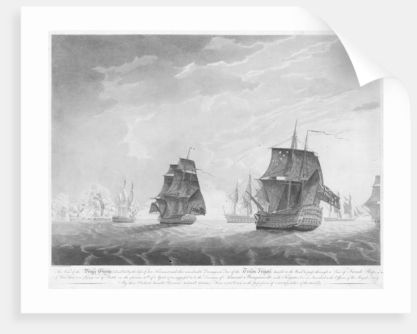 The view of the 'Prince George' disabled by the loss of her foremast, 12 April 1782 by Robert Dodd