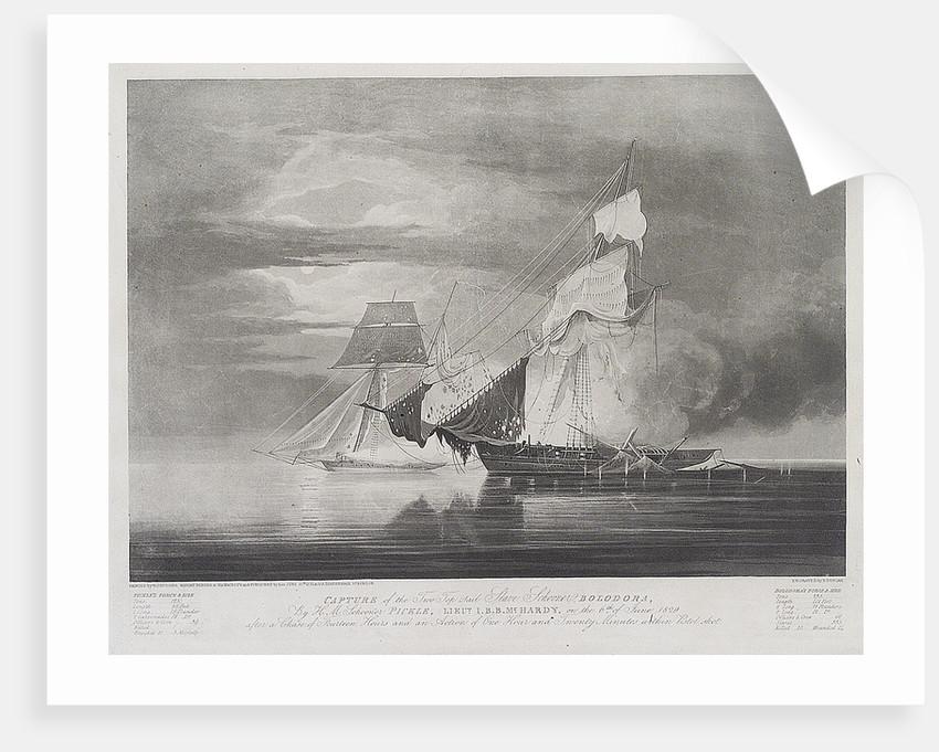 Capture of the slave Schooner 'Bolodora', by HM schooner 'Pickle' by William John Huggins