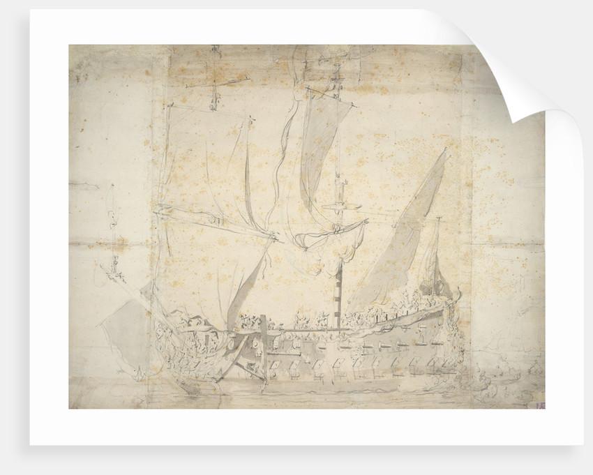 An English two-decker in a light air by Willem van de Velde the Elder